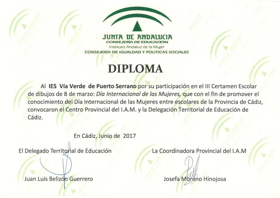 Diploma Día Internacional de la Mujer