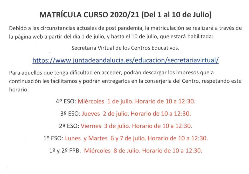 Cartel matrícula curso 20-21.